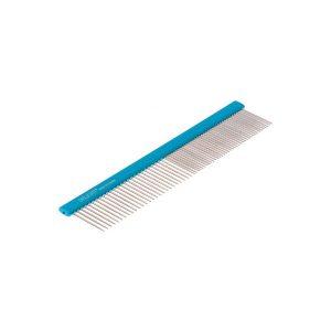 Расчёска алюм. 19,5 см с плоской синей ручкой DeLIGHT